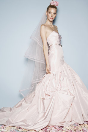 Wedding Dresses, Sweetheart Wedding Dresses, Fashion, pink, Mermaid, Sweetheart, Strapless, Strapless Wedding Dresses, Trumpet, Taffeta, Sleeveless, Watters bridal, floor length, sweep train, taffeta wedding dresses