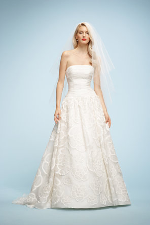 Wedding Dresses, A-line Wedding Dresses, Fashion, ivory, Strapless, Strapless Wedding Dresses, A-line, Organza, Dropped, Sleeveless, Watters bridal, chapel train, floor length, organza wedding dresses