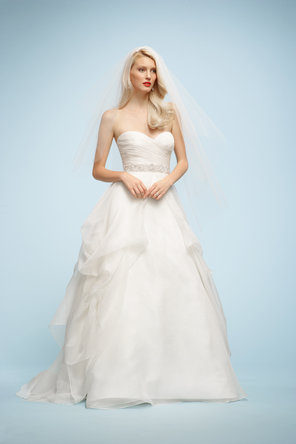 Wedding Dresses, Sweetheart Wedding Dresses, A-line Wedding Dresses, Fashion, Sweetheart, Strapless, Strapless Wedding Dresses, A-line, Ribbons, Sashes, Organza, Sleeveless, Watters bridal, floor length, organza wedding dresses, cathedral train, multcolor