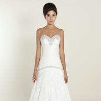 white, Sweetheart, Strapless, A-line, Beading, Floor, Wedding dress, Natural, Silk, Winnie Couture