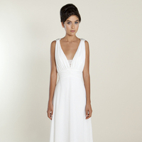 white, Spring, Summer, Modern, Empire, V-neck, Floor, Chiffon, Wedding dress, Winnie Couture