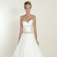 white, Romantic, Sweetheart, Strapless, Beading, Tulle, Satin, Wedding dress, Winnie Couture, Ball gown