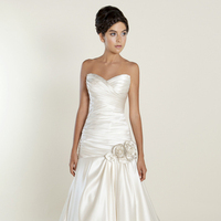 white, Romantic, Sweetheart, Strapless, Satin, Floor, Formal, Wedding dress, Dropped, Ruching, Winnie Couture