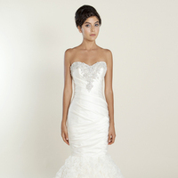 Sweetheart, Strapless, Beading, Satin, Wedding dress, Ruffles, Ruching, Winnie Couture, Mermaid/Trumpet, Fit-n-Flare