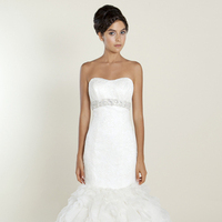 white, Sweetheart, Strapless, Beading, Empire, Tulle, Floor, Wedding dress, Winnie Couture, Mermaid/Trumpet, Fit-n-Flare