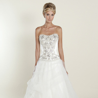 white, silver, Sweetheart, Strapless, Beading, Tulle, Floor, Formal, Wedding dress, Winnie Couture, Ball gown