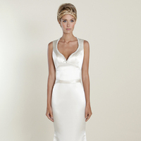 white, Modern, A-line, V-neck, Satin, Wedding dress, Natural, Scoop, Winnie Couture
