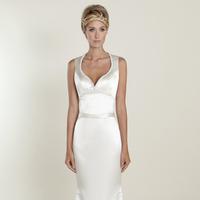 white, Modern, A-line, V-neck, Satin, Wedding dress, Natural, Scoop, Winnie Couture