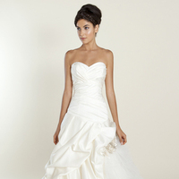white, Sweetheart, Strapless, Satin, Floor, Wedding dress, Ruffles, Ruching, Winnie Couture, Ball gown