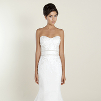 white, Lace, Sweetheart, Strapless, A-line, Floor, Wedding dress, Natural, Winnie Couture, Fot-n-Flare