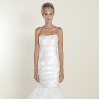 white, Strapless, Tulle, Satin, Wedding dress, Winnie Couture, Mermaid/Trumpet, Fit-n-Flare