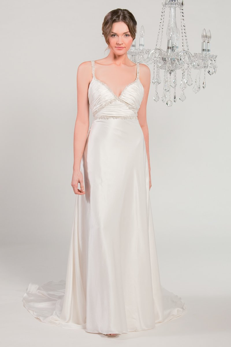 Wedding Dresses, Vintage Wedding Dresses, Fashion, white, ivory, Vintage, Classic, Spaghetti straps, Beading, Empire, V-neck, V-neck Wedding Dresses, Sheath, Satin, Floor, Silk, Sleeveless, Beaded Wedding Dresses, Classic Wedding Dresses, Winnie Chlomin Diamond Label, satin wedding dresses, Spahetti Strap Wedding Dresses, Sheath Wedding Dresses, Silk Wedding Dresses, Floor Wedding Dresses