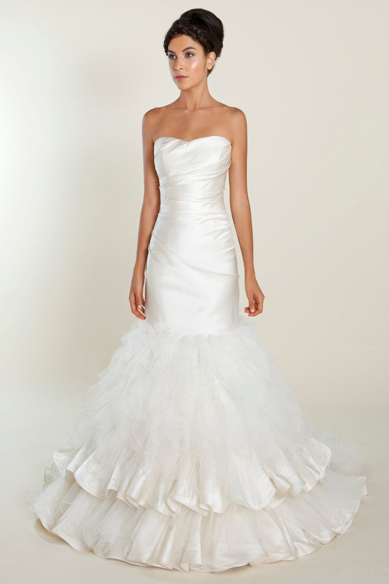 Wedding Dresses, Sweetheart Wedding Dresses, Mermaid Wedding Dresses, Ruffled Wedding Dresses, Hollywood Glam Wedding Dresses, Fashion, white, ivory, Feathers, Spring, Boho Chic, Sweetheart, Strapless, Strapless Wedding Dresses, Floor, Formal, Silk, Ruffles, Hip, Dropped, Sleeveless, Mermaid/Trumpet, Fit-n-Flare, hollywood glam, trumpet wedding dresses, Boho Chic Wedding Dresses, Spring Wedding Dresses, Winnie Chlomin Diamond Label, Feather Wedding Dresses, Formal Wedding Dresses, Silk Wedding Dresses, Floor Wedding Dresses, Hip Wedding Dresses