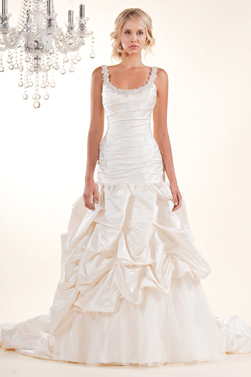 Wedding Dresses, Mermaid Wedding Dresses, Fashion, white, ivory, Spaghetti straps, Beading, Tulle, Floor, Formal, Scoop, Dropped, Pick-ups, Sleeveless, Ruching, Avant-Garde, Fit-n-Flare, Beaded Wedding Dresses, tulle wedding dresses, Winnie Chlomin Diamond Label, Spahetti Strap Wedding Dresses, Formal Wedding Dresses, Scoop Neckline Wedding Dresses, Floor Wedding Dresses