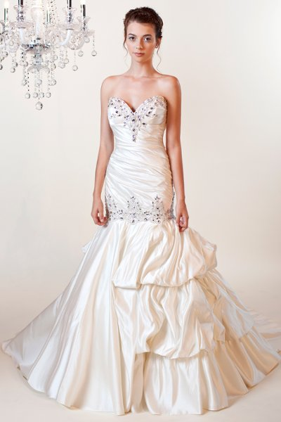 Wedding Dresses, Sweetheart Wedding Dresses, Mermaid Wedding Dresses, Fashion, white, ivory, Modern, Sweetheart, Beading, Satin, Floor, Formal, Silk, Dropped, Pick-ups, Sleeveless, Ruching, Mermaid/Trumpet, Modern Wedding Dresses, Beaded Wedding Dresses, trumpet wedding dresses, Winnie Chlomin Diamond Label, satin wedding dresses, Formal Wedding Dresses, Silk Wedding Dresses, Floor Wedding Dresses