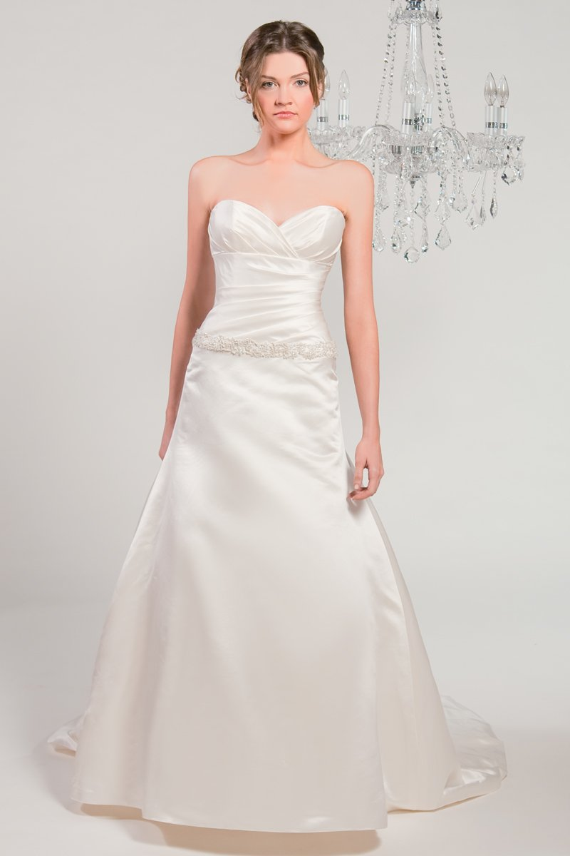 Wedding Dresses, Sweetheart Wedding Dresses, A-line Wedding Dresses, Fashion, white, ivory, Modern, Classic, Sweetheart, Strapless, Strapless Wedding Dresses, A-line, Beading, Satin, Floor, Silk, Pleats, Sleeveless, Ruching, Modern Wedding Dresses, Beaded Wedding Dresses, Classic Wedding Dresses, Winnie Chlomin Diamond Label, satin wedding dresses, Silk Wedding Dresses, Floor Wedding Dresses