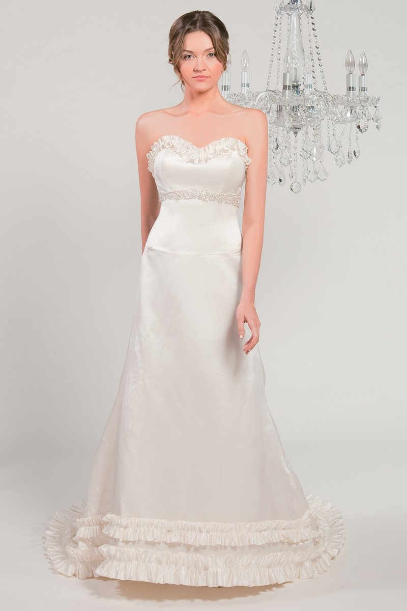 Wedding Dresses, Sweetheart Wedding Dresses, A-line Wedding Dresses, Ruffled Wedding Dresses, Fashion, white, ivory, Modern, Classic, Sweetheart, Strapless, Strapless Wedding Dresses, A-line, Beading, Empire, Satin, Floor, Silk, Ruffles, Sleeveless, Modern Wedding Dresses, Beaded Wedding Dresses, Classic Wedding Dresses, Winnie Chlomin Diamond Label, satin wedding dresses, Silk Wedding Dresses, Floor Wedding Dresses