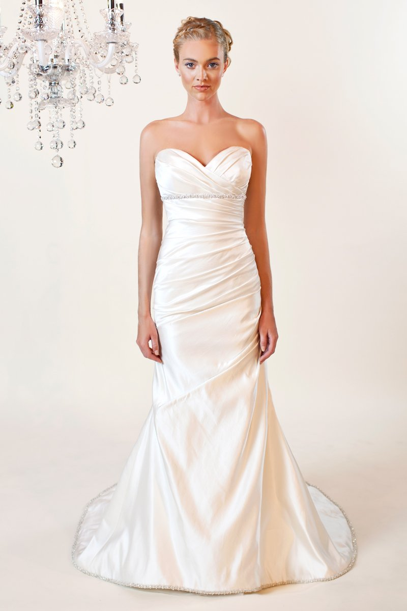 Wedding Dresses, Sweetheart Wedding Dresses, A-line Wedding Dresses, Mermaid Wedding Dresses, Fashion, white, ivory, Modern, Sweetheart, Strapless, Strapless Wedding Dresses, A-line, Beading, Empire, Satin, Floor, Formal, Sleeveless, Ruching, Fit-n-Flare, Modern Wedding Dresses, Beaded Wedding Dresses, Winnie Chlomin Diamond Label, satin wedding dresses, Formal Wedding Dresses, Floor Wedding Dresses