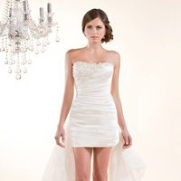 Wedding Dresses, Sweetheart Wedding Dresses, Romantic Wedding Dresses, Fashion, white, ivory, Classic, Romantic, Sweetheart, Strapless, Strapless Wedding Dresses, Beading, Short, Sheath, Tulle, Formal, Organza, Silk, Dropped, Sleeveless, Ruching, Short Wedding Dresses, Beaded Wedding Dresses, organza wedding dresses, Classic Wedding Dresses, tulle wedding dresses, Winnie Chlomin Diamond Label, Sheath Wedding Dresses, Formal Wedding Dresses, Silk Wedding Dresses
