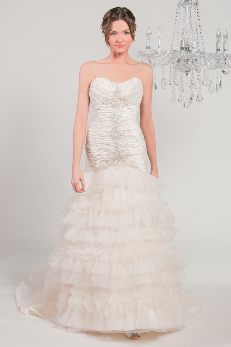 Wedding Dresses, Sweetheart Wedding Dresses, Ball Gown Wedding Dresses, Ruffled Wedding Dresses, Vintage Wedding Dresses, Hollywood Glam Wedding Dresses, Fashion, white, ivory, Vintage, Sweetheart, Strapless, Strapless Wedding Dresses, Beading, Floor, Organza, Ruffles, Dropped, Sleeveless, Ruching, Ball gown, hollywood glam, Beaded Wedding Dresses, organza wedding dresses, Winnie Chlomin Diamond Label, Floor Wedding Dresses