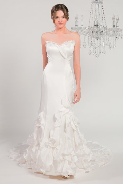 Wedding Dresses, Sweetheart Wedding Dresses, Mermaid Wedding Dresses, Ruffled Wedding Dresses, Fashion, white, ivory, Sweetheart, Strapless, Strapless Wedding Dresses, Satin, Floor, Silk, Ruffles, Sleeveless, Mermaid/Trumpet, Fit-n-Flare, trumpet wedding dresses, Winnie Chlomin Diamond Label, satin wedding dresses, Silk Wedding Dresses, Floor Wedding Dresses