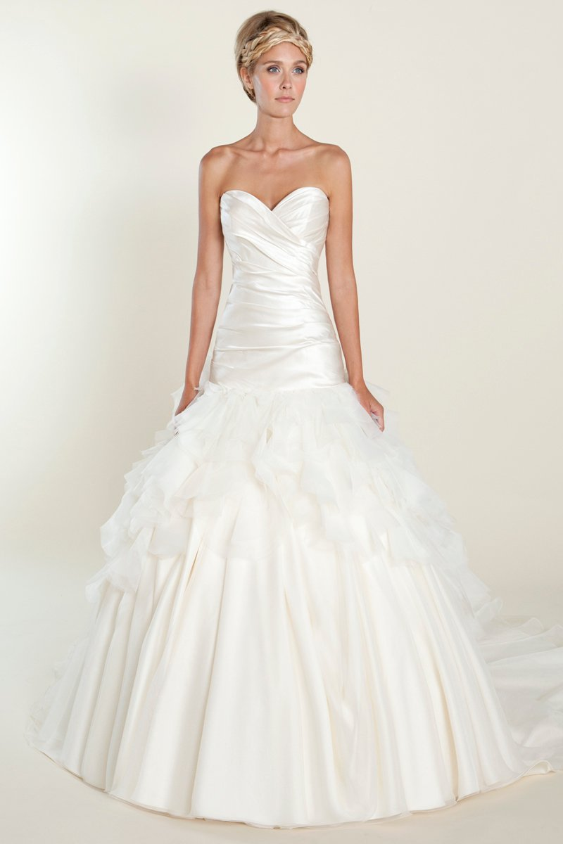 Wedding Dresses, Sweetheart Wedding Dresses, Ball Gown Wedding Dresses, Ruffled Wedding Dresses, Romantic Wedding Dresses, Fashion, white, ivory, Shabby Chic, Romantic, Sweetheart, Strapless, Strapless Wedding Dresses, Satin, Floor, Formal, Ruffles, Tiers, Dropped, Sleeveless, Ball gown, Winnie Chlomin Diamond Label, satin wedding dresses, Formal Wedding Dresses, Floor Wedding Dresses, Shabby Chic Wedding Dresses, Tiered Wedding Dresses