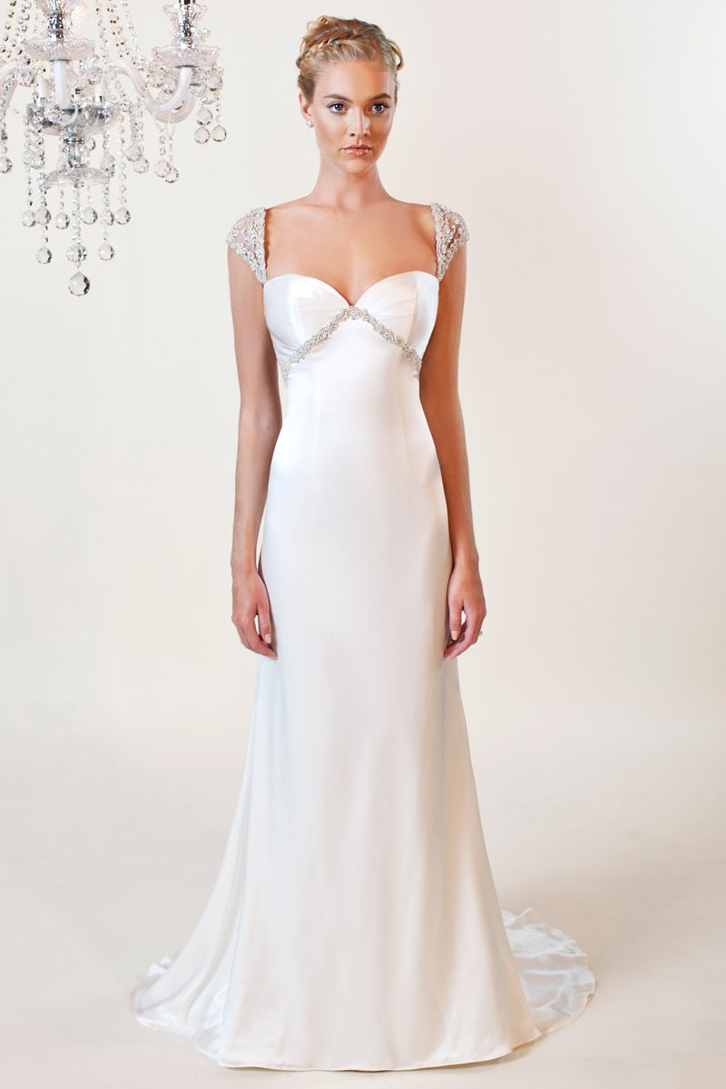 Wedding Dresses, Sweetheart Wedding Dresses, Hollywood Glam Wedding Dresses, Fashion, white, ivory, Classic, Sweetheart, Off the shoulder, Beading, Empire, Sheath, Floor, Silk, cap sleeve, hollywood glam, Off the Shoulder Wedding Dresses, Beaded Wedding Dresses, Classic Wedding Dresses, Winnie Chlomin Diamond Label, Sheath Wedding Dresses, Silk Wedding Dresses, Floor Wedding Dresses