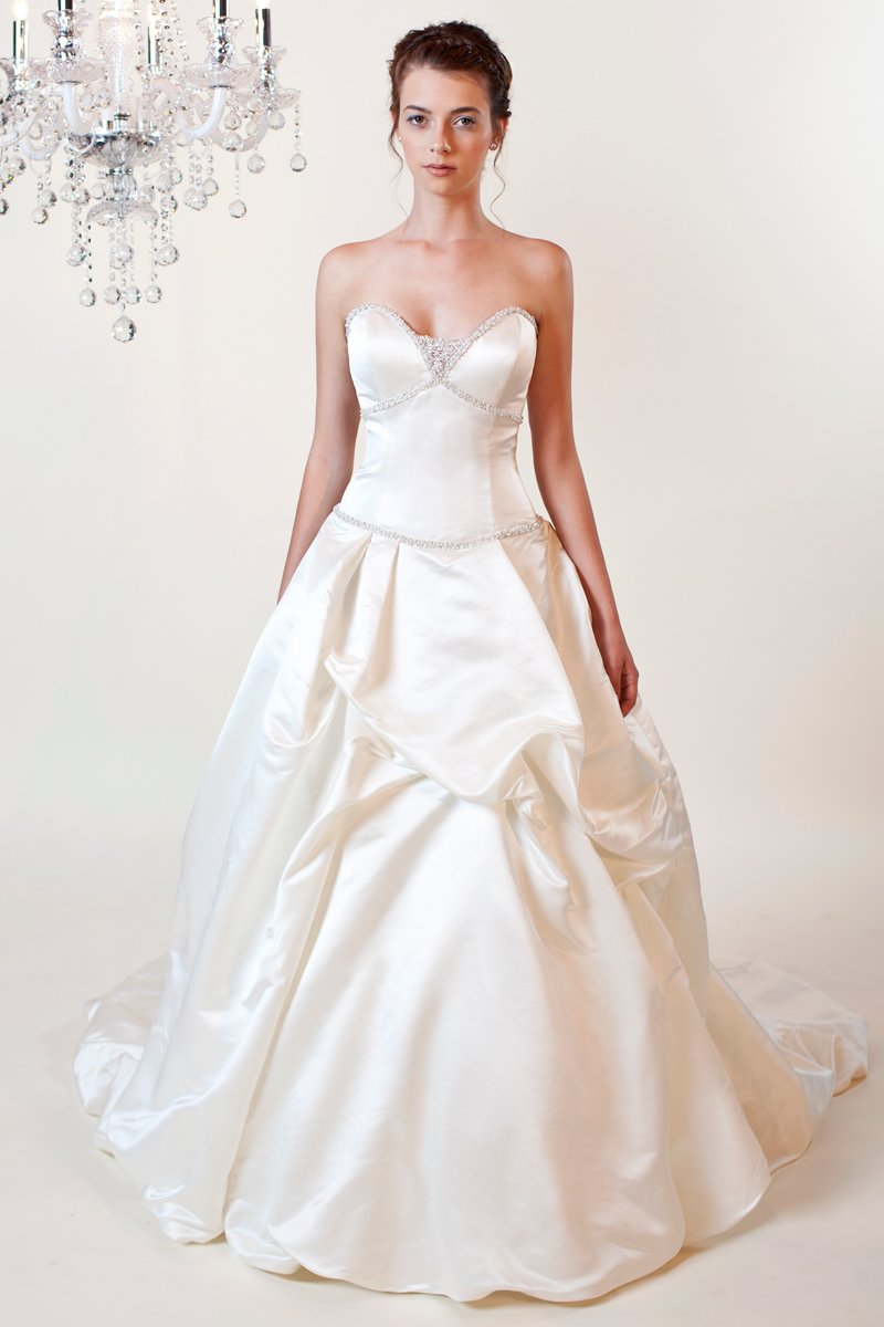 Wedding Dresses, Sweetheart Wedding Dresses, Ball Gown Wedding Dresses, Romantic Wedding Dresses, Fashion, white, ivory, Modern, Romantic, Sweetheart, Strapless, Strapless Wedding Dresses, Beading, Satin, Floor, Silk, Pick-ups, Sleeveless, Basque, Ball gown, Modern Wedding Dresses, Beaded Wedding Dresses, Winnie Chlomin Diamond Label, satin wedding dresses, Silk Wedding Dresses, Floor Wedding Dresses