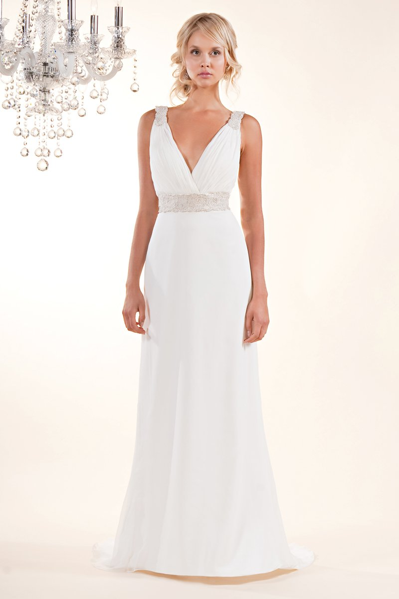 Wedding Dresses, Romantic Wedding Dresses, Vintage Wedding Dresses, Fashion, white, ivory, Vintage, Romantic, Beading, V-neck, V-neck Wedding Dresses, Sheath, Satin, Floor, Chiffon, Silk, Sleeveless, Sash/Belt, Beaded Wedding Dresses, Winnie Chlomin Diamond Label, satin wedding dresses, Sheath Wedding Dresses, Chiffon Wedding Dresses, Silk Wedding Dresses, Floor Wedding Dresses, Sash Wedding Dresses, Belt Wedding Dresses