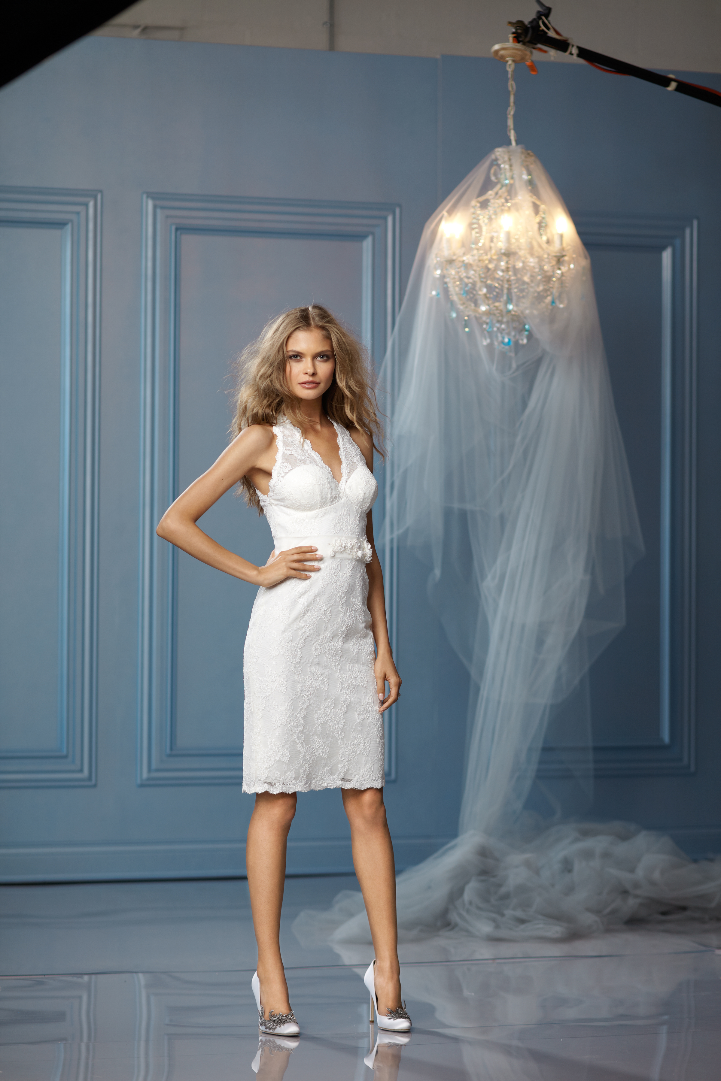 white, ivory, Beach, Spring, Summer, Fall, Modern, Lace, V-neck, Short, Tea, Natural, Informal, Modest, Wtoo Brides