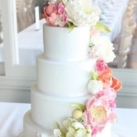 white, yellow, pink, green, cake