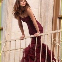 red, dress, Bridesmaid