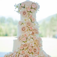 Rose Adorned Wedding Cake
