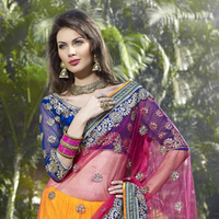 Pink and Blue Lehenga Style Saree