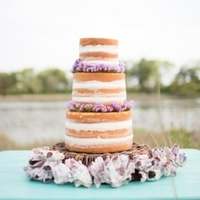 Purple Floral Naked Wedding Cake