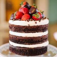 Strawberry Chocolate Naked Wedding Cake
