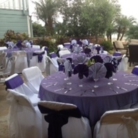 Wedding Shower/purple organza toppers with white satin chair covers
