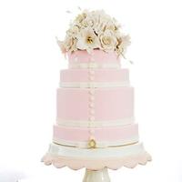 Floral Pink Wedding Cake