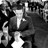 A groom eagerly awaits his bride