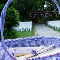 basket with fans for guests