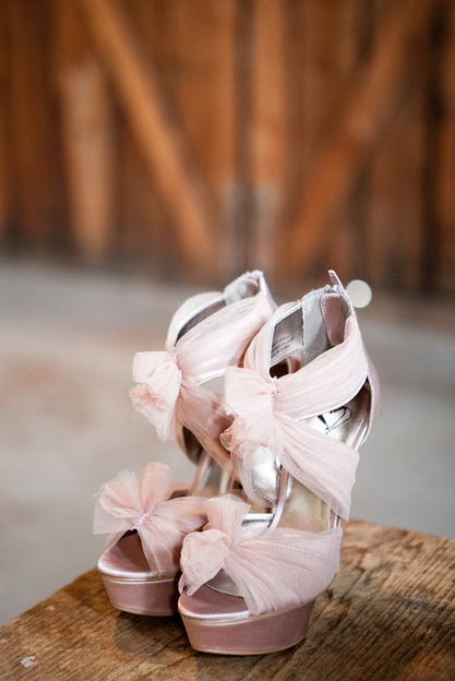To match her blush dress Jenni wore a pair of platform ...