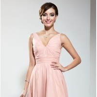 A-Line/Princess V-neck Short/Mini Chiffon Homecoming Dress With Ruffel