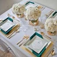 Teal, ivory and gold