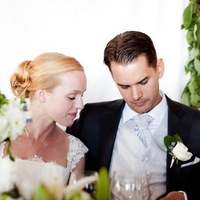 Reception, Updo, Bride, Groom, Lace, Dinner