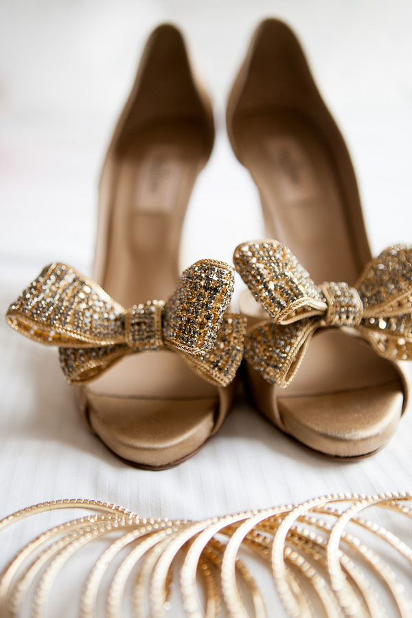 and pair of Valentino gold bow tie peeptoe heels Photo Nyk ...