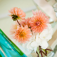 Peach Dahlia Centerpieces