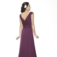 Bridesmaids Dresses, Fashion, burgundy, purple, A-line, V-neck, Floor, Chiffon, Ruching, cap sleeve, Me Too! Bridesmaids