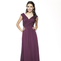 Bridesmaids Dresses, Fashion, burgundy, purple, black, A-line, V-neck, Floor, Chiffon, Ruching, cap sleeve, Me Too! Bridesmaids