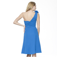 Fashion, blue, A-line, Short, Chiffon, Bridemaids dresses, Ruching, One-shoulder, Sash/Belt, Me Too! Bridesmaids