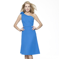 Bridesmaids Dresses, Fashion, blue, A-line, Short, Chiffon, Ruching, One-shoulder, Sash/Belt, Me Too! Bridesmaids